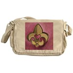 Valentine Fleur De Lis with Heart Messenger Bag