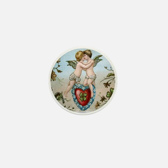 Kissing Cupids on Heart Mini Button