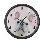 French Bulldog (Cream/White) Large Wall Clock