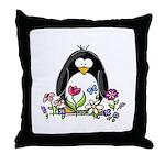 Garden penguin Throw Pillow