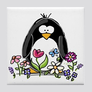Garden penguin Tile Coaster