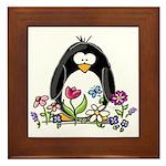 Garden penguin Framed Tile