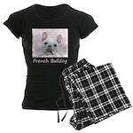 French Bulldog (Cream/White) Women's Dark Pajamas