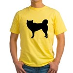 Siberian Husky Silhouette Yellow T-Shirt