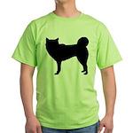 Siberian Husky Silhouette Green T-Shirt