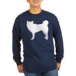 Siberian Husky Silhouette Long Sleeve Dark T-Shirt
