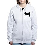 Siberian Husky Silhouette Women's Zip Hoodie