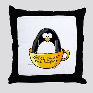 Coffee penguin Throw Pillow