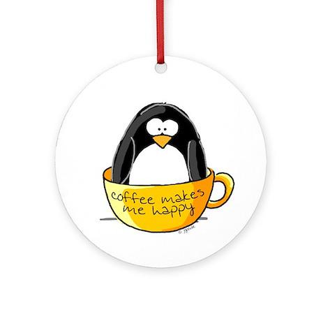 Coffee penguin Ornament (Round)