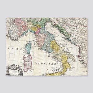 Vintage Map of Italy (1742) 5'x7'Area Rug