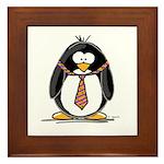 Bad Tie penguin Framed Tile