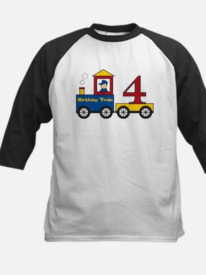 4 Year Old Birthday Train Kids Baseball Jersey