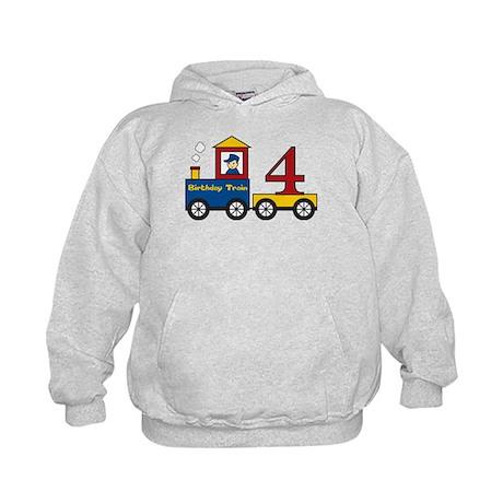 4 Year Old Birthday Train Kids Hoodie