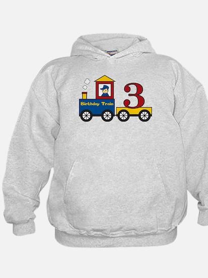3 Year Old Birthday Train Hoodie