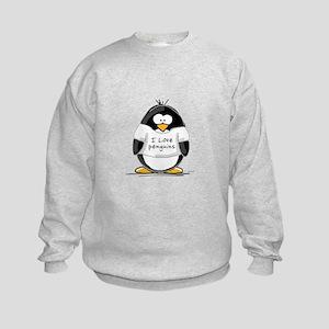 I Love Penguins penguin Kids Sweatshirt