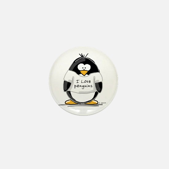 I Love Penguins penguin Mini Button