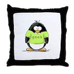 Geek penguin Throw Pillow