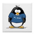Best Dad penguin Tile Coaster