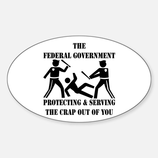Fed-Gov Protecting And Serving Sticker (Oval)