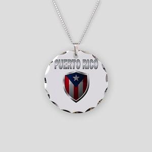 Puerto rican pride Necklace Circle Charm