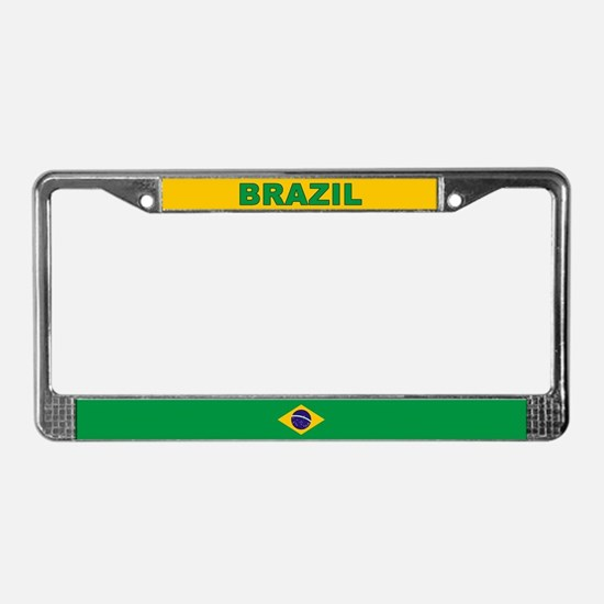 Brazil World Flag License Plate Frame