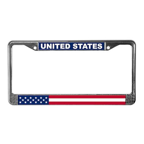 United States World Flag License Plate Frame