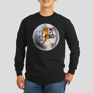 US Girls Soccer Ball Long Sleeve Dark T-Shirt