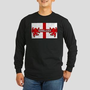England Lion Flag Long Sleeve Dark T-Shirt