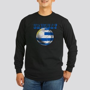 Uruguay Soccer Ball Long Sleeve Dark T-Shirt