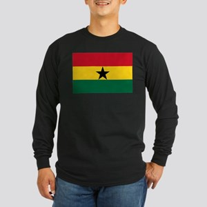 Flag of Ghana Long Sleeve Dark T-Shirt