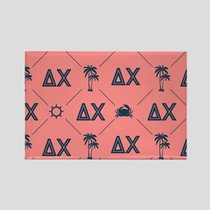 Delta Chi Pattern Coral Rectangle Magnet