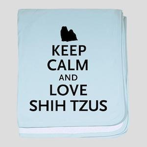 Keep Calm Shih Tzus baby blanket