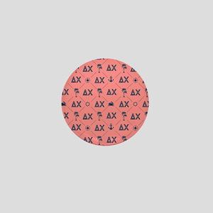 Delta Chi Pattern Coral Mini Button