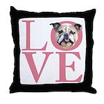 Love - Bulldog Throw Pillow
