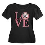 Love - Bulldog Women's Plus Size Scoop Neck Dark T
