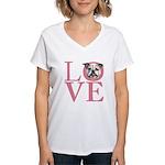 Love - Bulldog Women's V-Neck T-Shirt