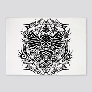 Tattoo tribal owl 5'x7'Area Rug