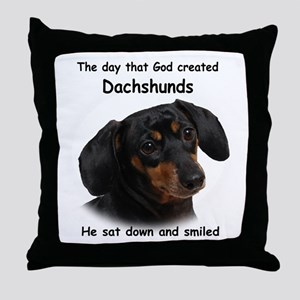 God Created Dachshunds Throw Pillow