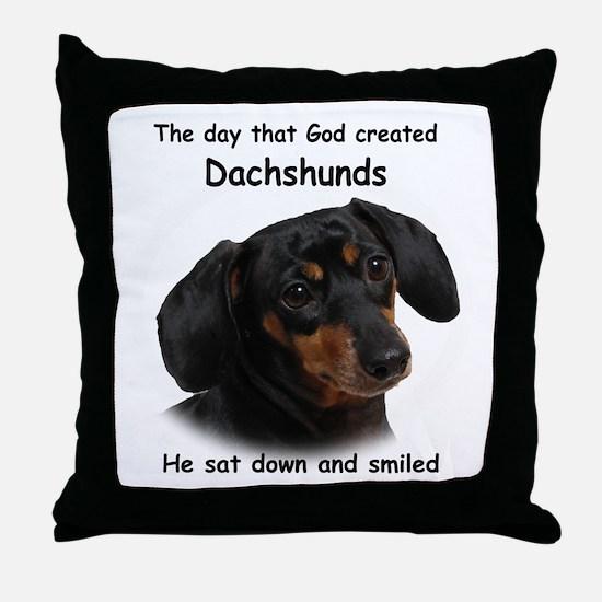 God Created Dachshunds Throw Pillow