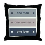 One Man, One Woman, One Love Throw Pillow