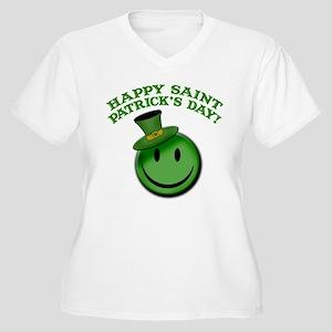 St. Patrick's Day Happy Face Women's Plus Size V-N