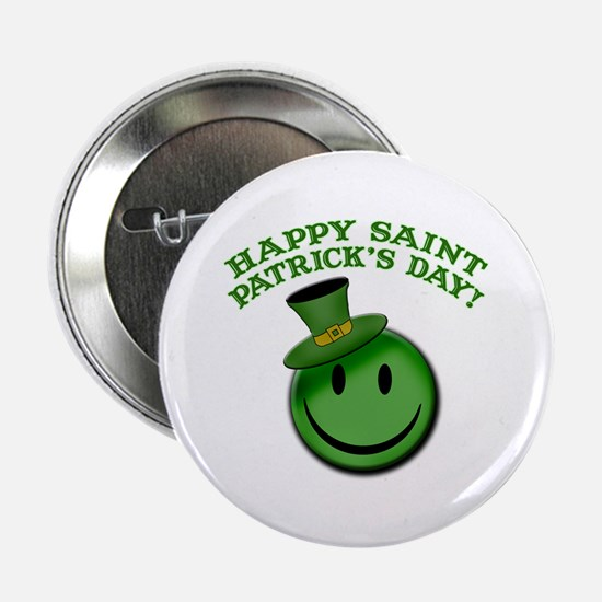 """St. Patrick's Day Happy Face 2.25"""" Button"""