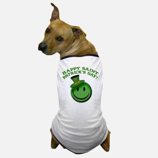 St. Patrick's Day Happy Face Dog T-Shirt