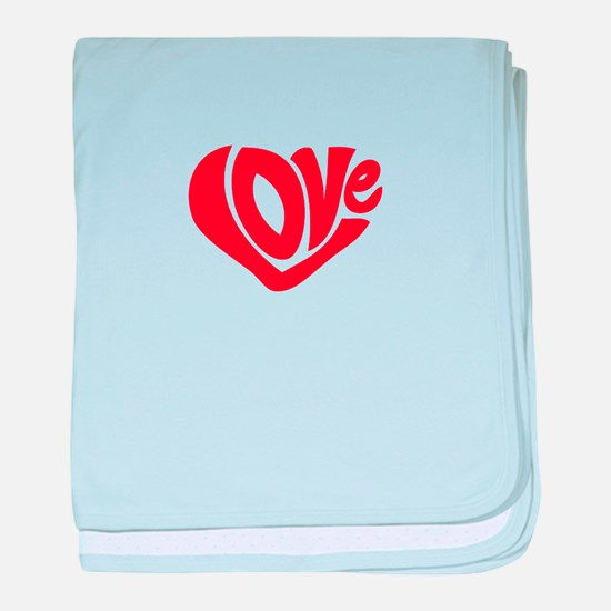 Cute I Heart Love Valentines Day baby blanket