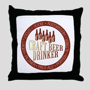 Craft Beer Drinker Throw Pillow