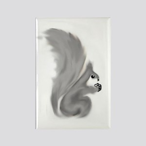 Painted Squirrels (grey) Rectangle Magnet