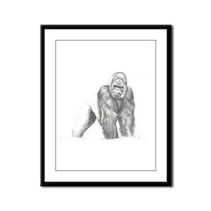 Tatu gorilla portrait Framed Panel Print
