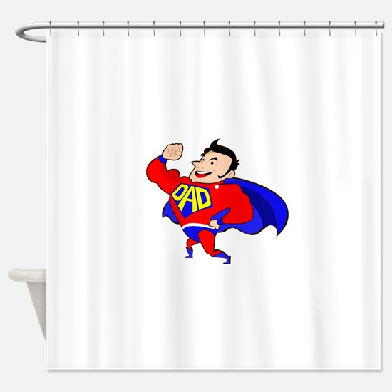 Fathers Day Super Dad Shower Curtain