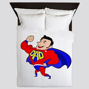 Fathers Day Super Dad Queen Duvet