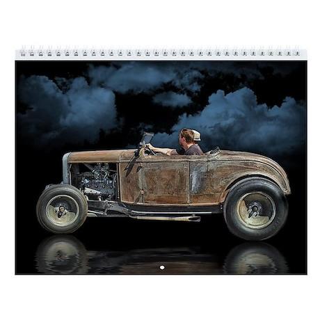 Rat Rods On Black Wall Calendar